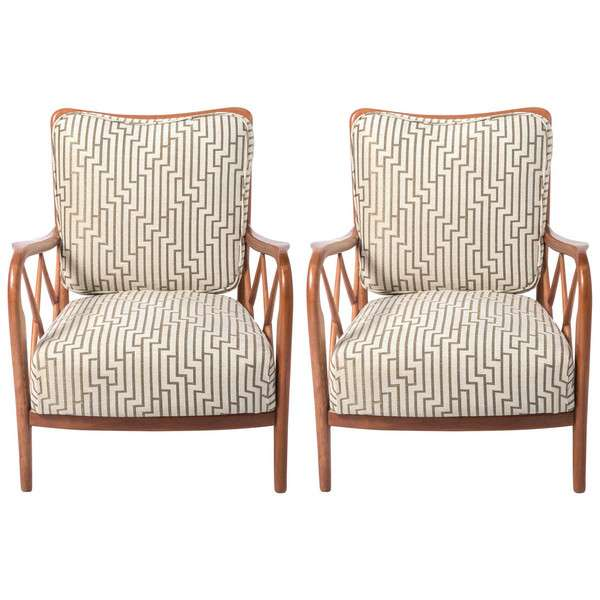 Pair of Cherrywood Armchairs in the Style of Paolo Buffa